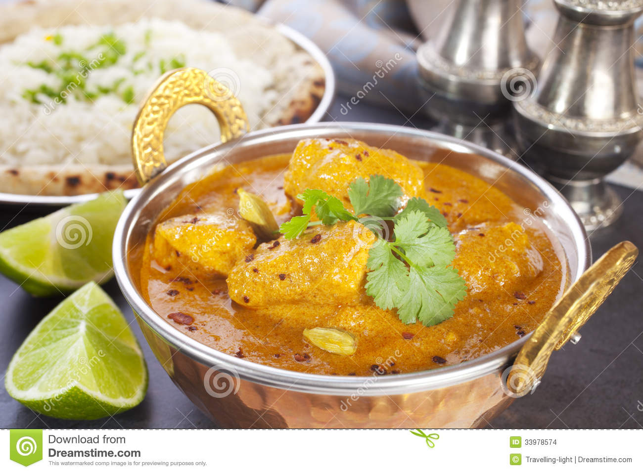 Favourite Indian meal, butter chicken with basmati rice, naan bread ...