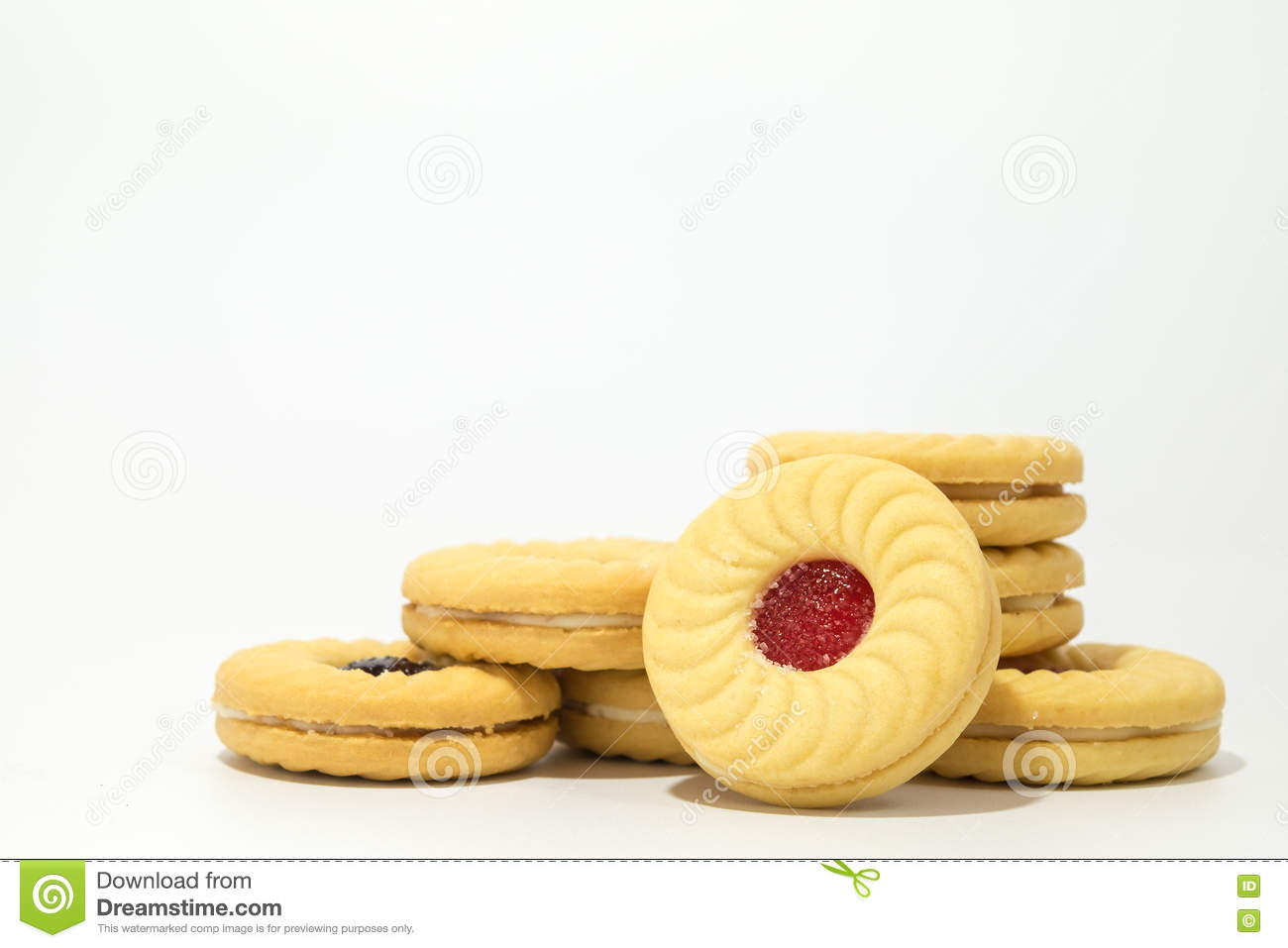 Butter Cookies With Strawberry Jam Filling Royalty-Free ...