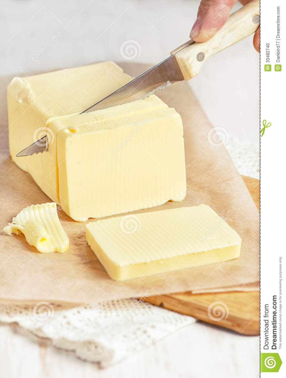 Cutting A Piece Of Paper : Butter cutting by knife stock photo image