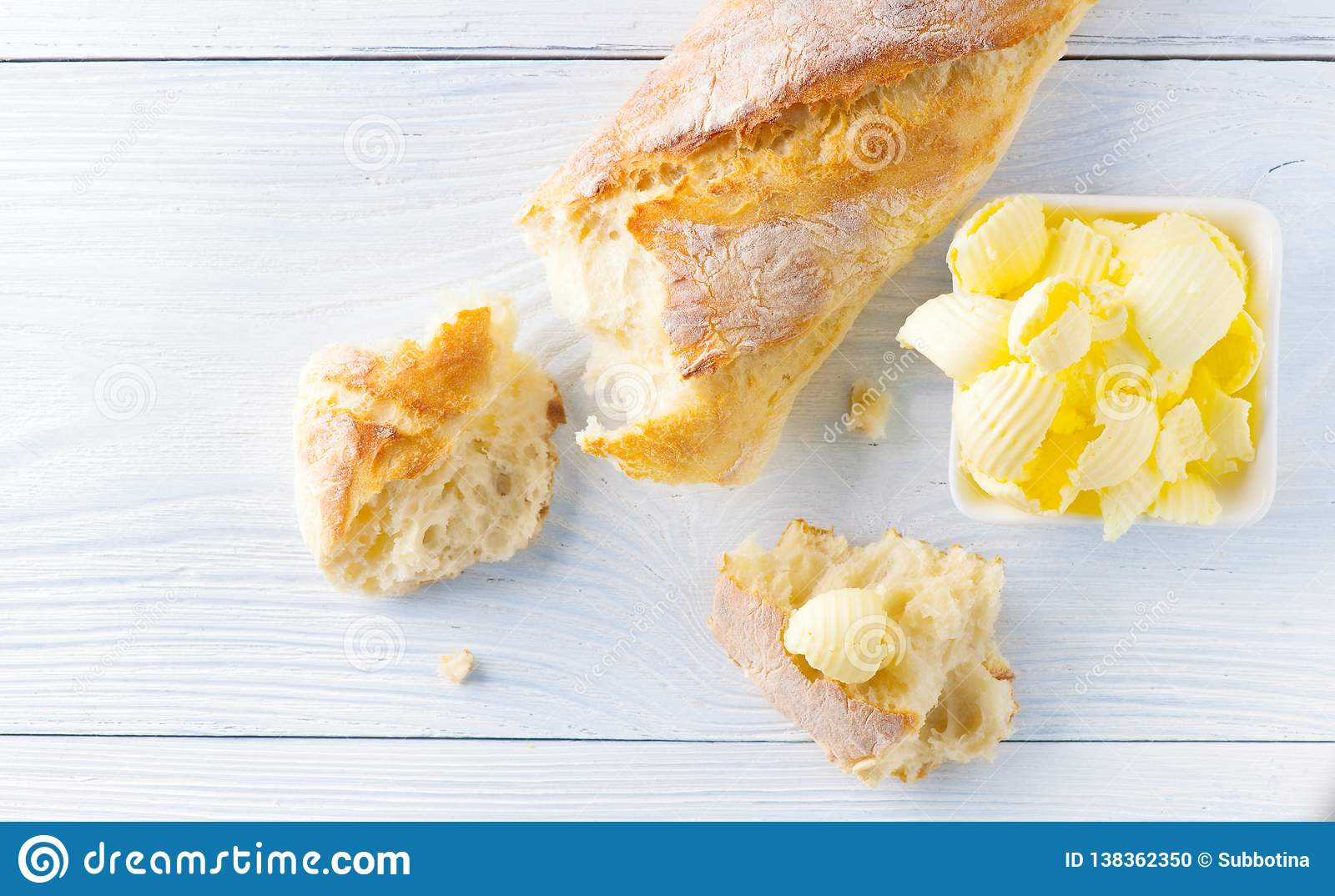 Butter And Fresh Crunchy Homemade Bread Healthy Organic