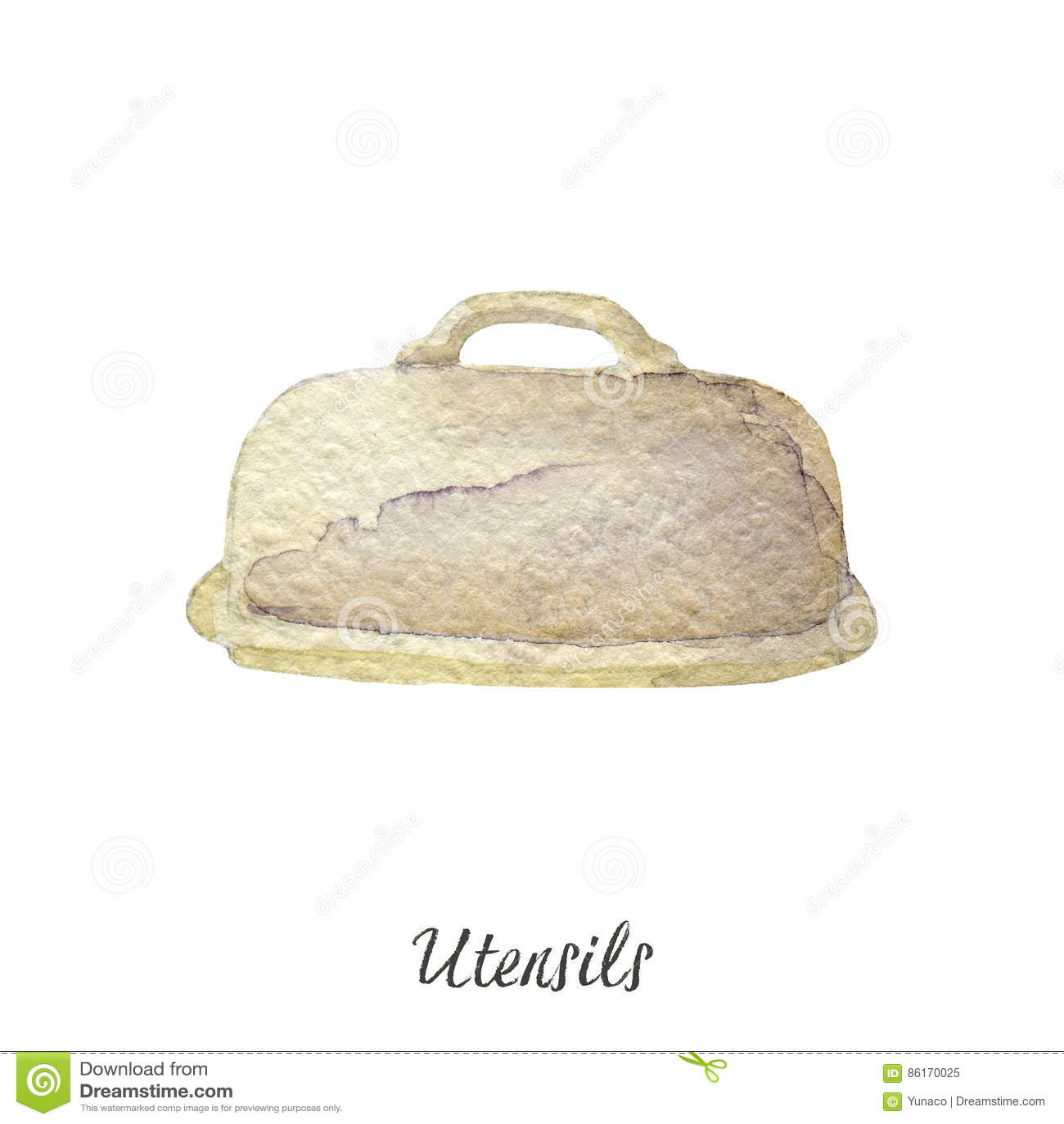 White Kitchen Utensils butter holder watercolor illustration on white kitchen utensils