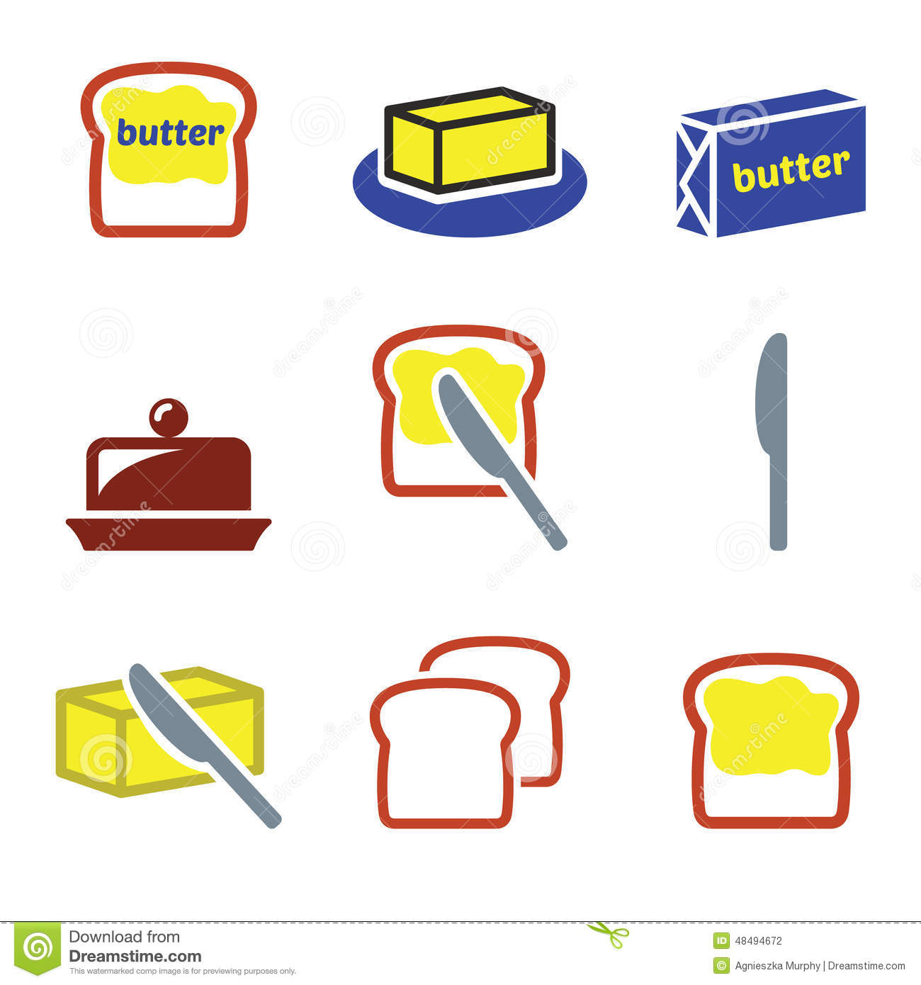 Butter Or Margarine Icons Set Stock Illustration - Image ...