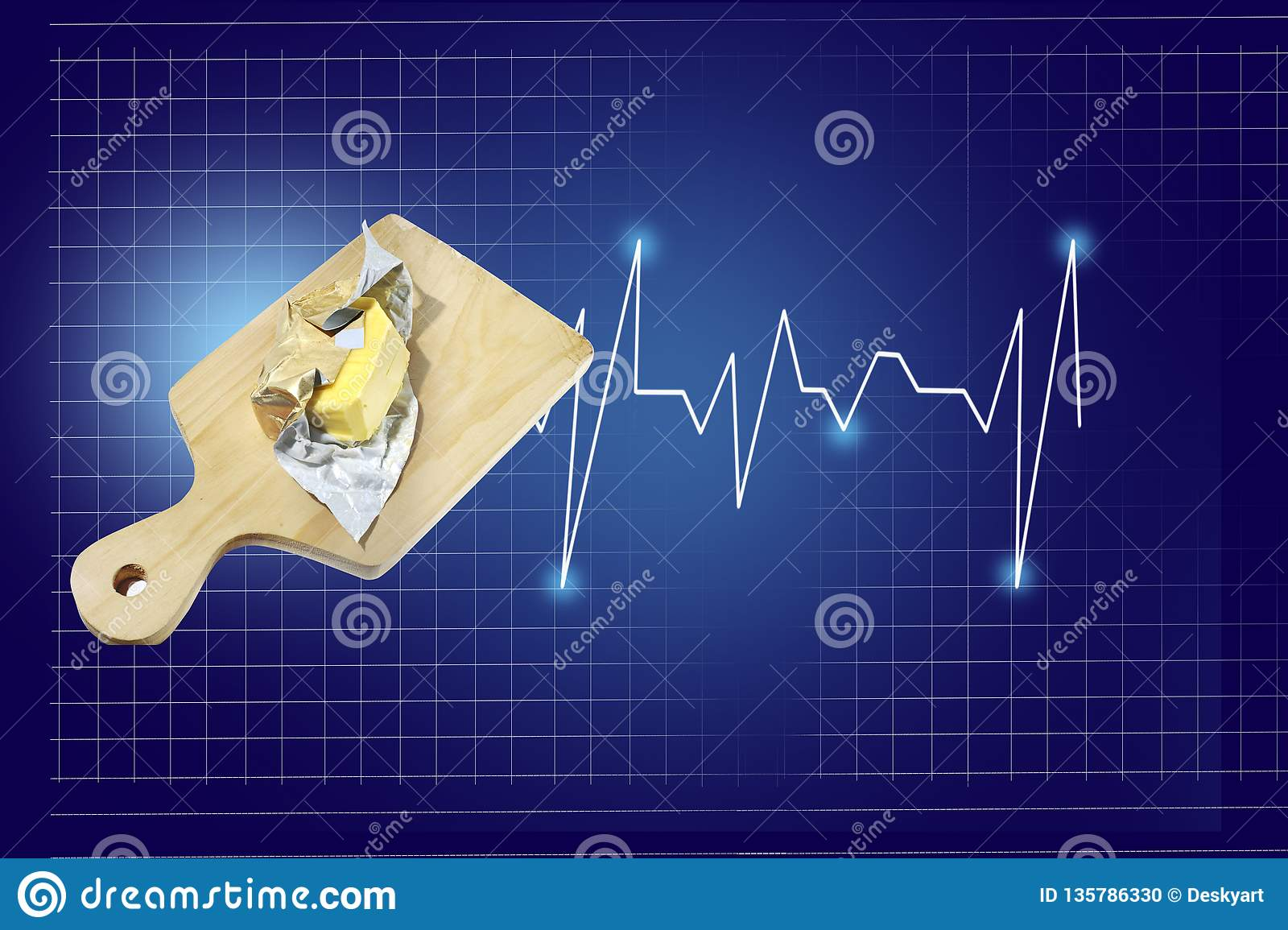 Butter on a wooden board with a heart beat rate chart info and healthcare report, isolated on blue background with checkered lines