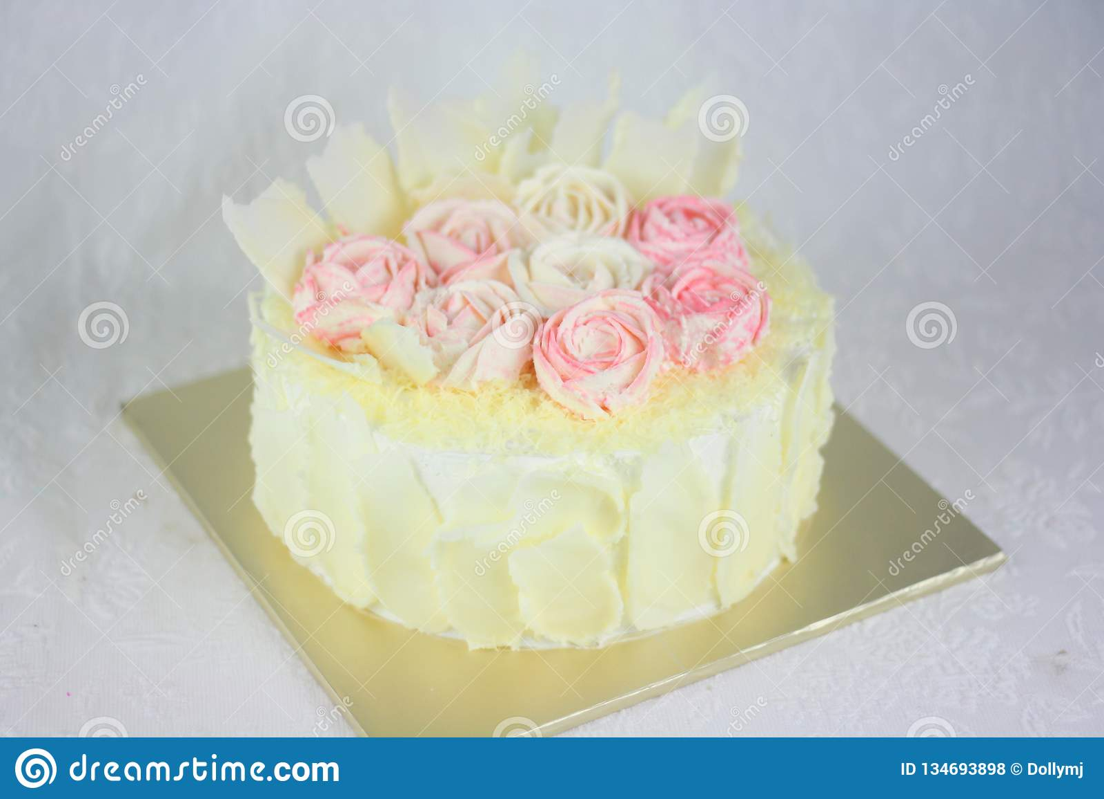 Buttercream Cake Basket And Flower Design Stock Photo Image Of