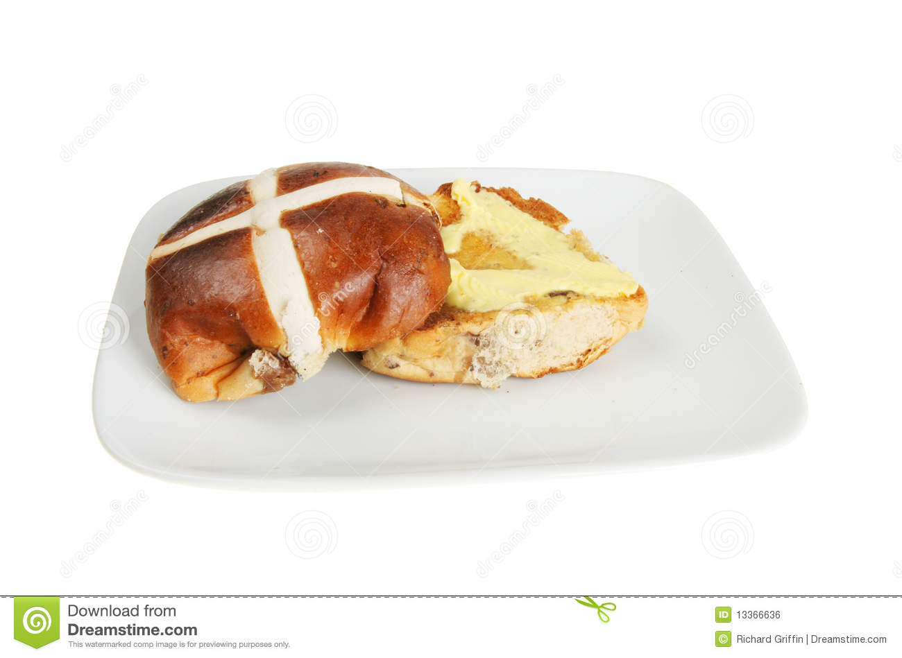 Buttered Hot Cross Bun Royalty Free Stock Image - Image: 13366636