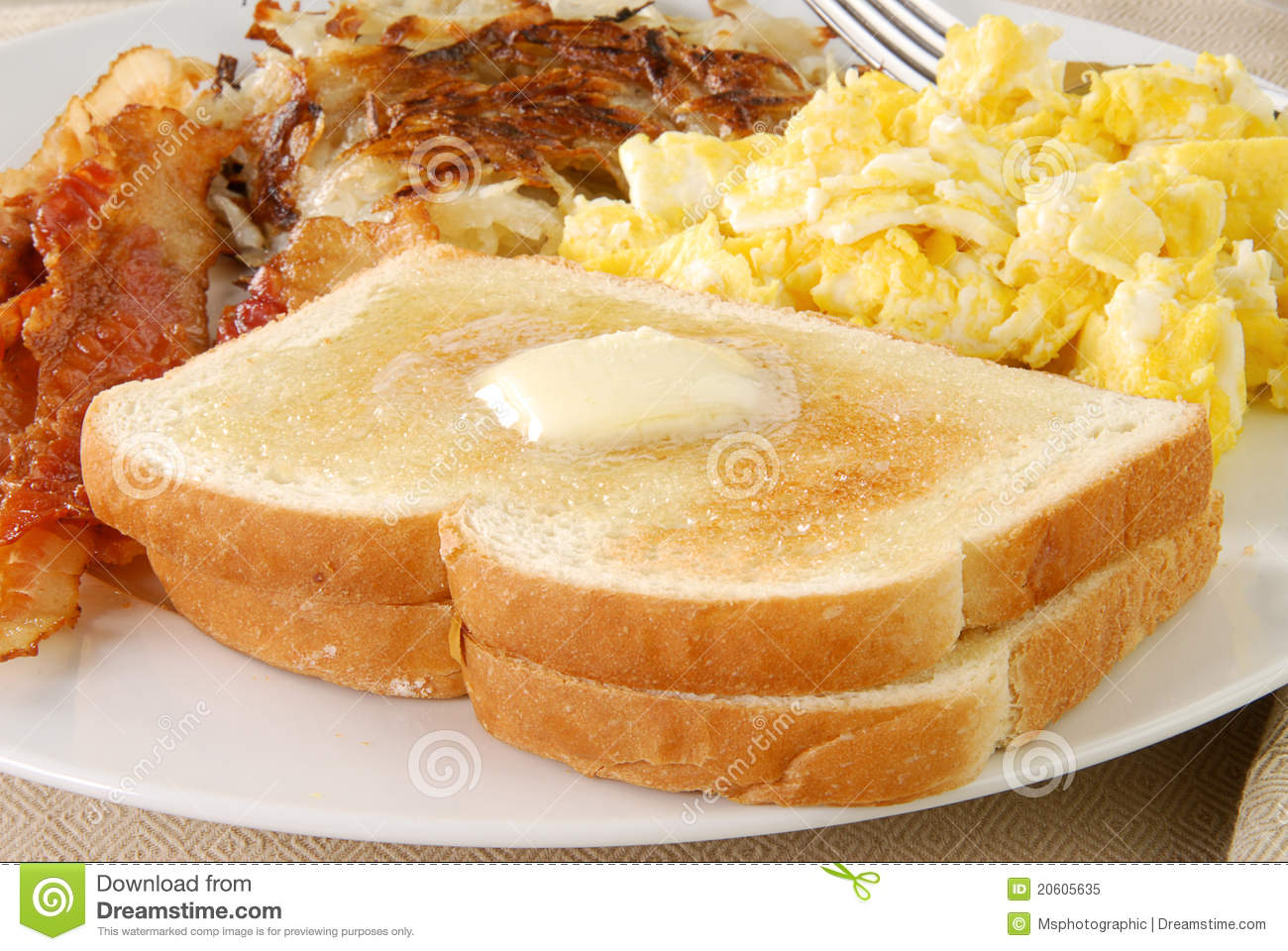 Buttered Toast With Bacon And Eggs Royalty Free Stock Photo - Image ...