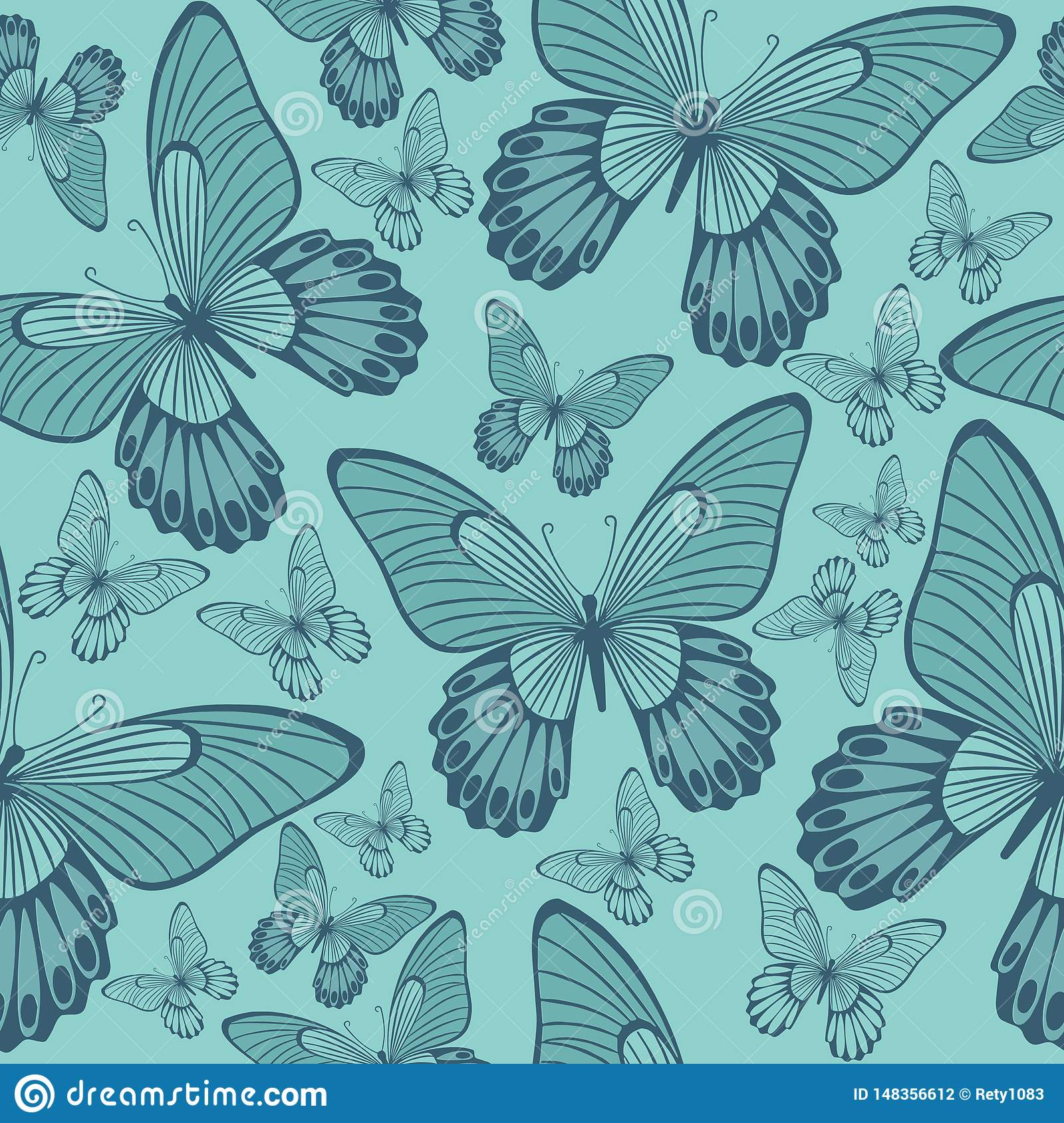 Butterflies in Coral and Turqoisel Green  Backround seamless pattern