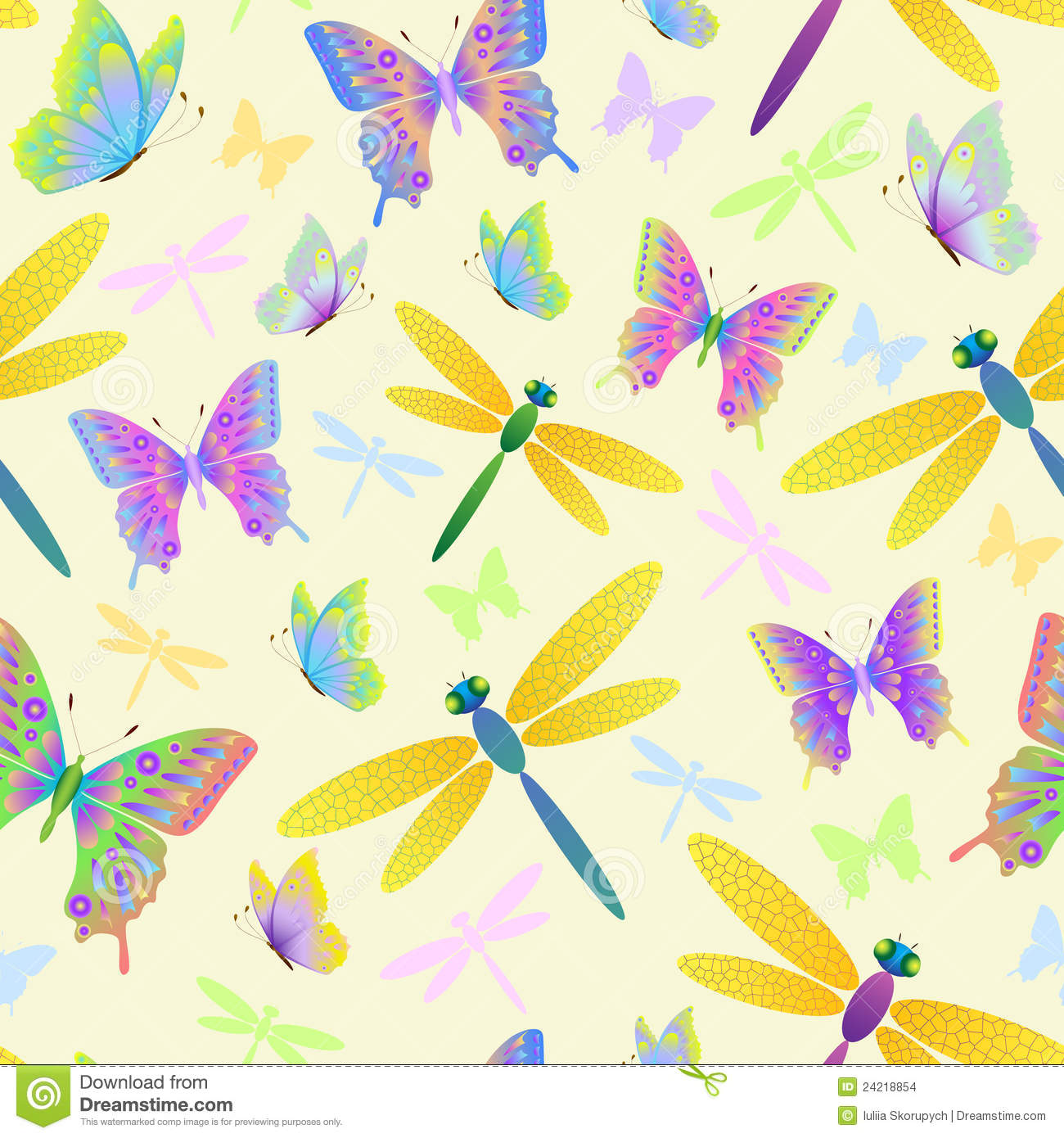 Illustration of seamless pattern with butterflies and dragonflies Dragonflies And Butterflies