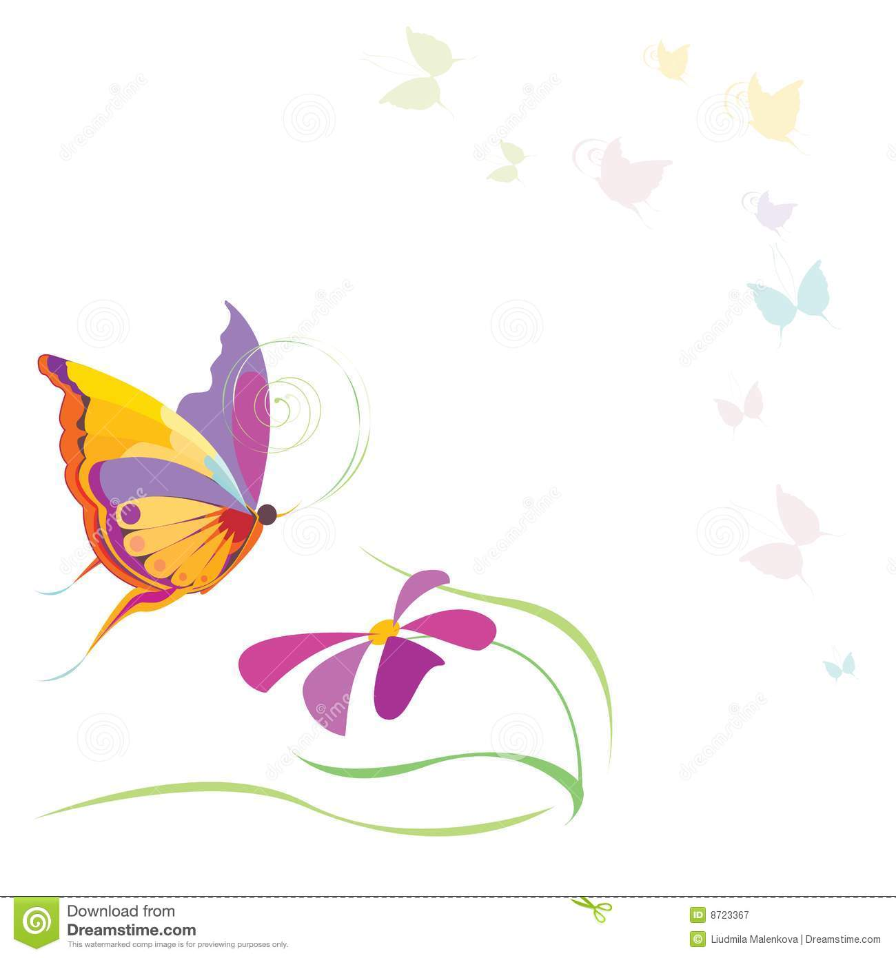 Butterflies and flower