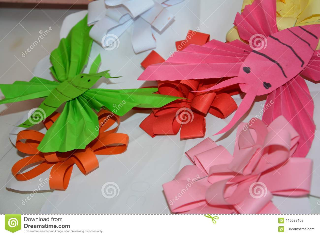 Paper flowers and paper butterflies stock photo image of closeup butterflies and flower hand made from colorful paper by small children mightylinksfo