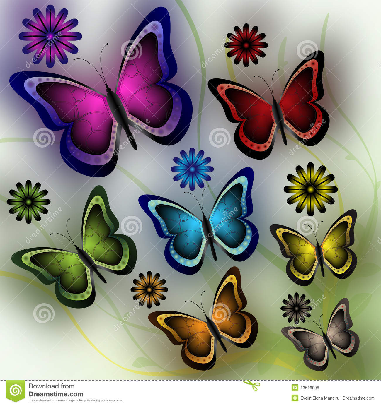 Butterflies And Flowers Royalty Free Stock Photos - Image: 13516098