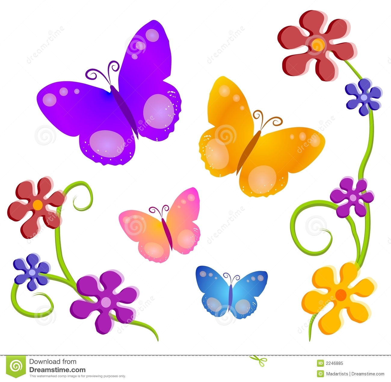 Flowers And Butterflies Clipart Images
