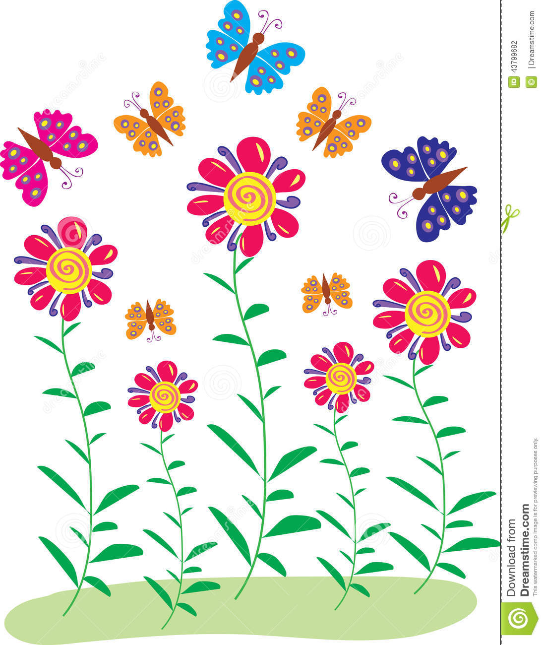 Toriko Surrounded By Bugs Jpg: Butterflies And Flowers Stock Vector. Illustration Of