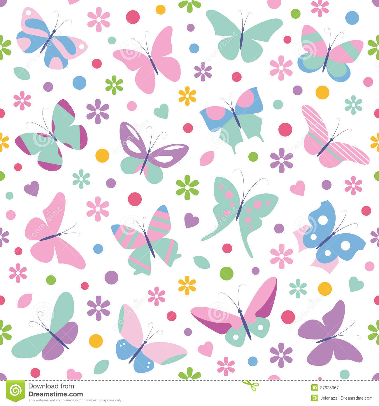 ... Free Stock Photography: Butterflies flowers hearts and dots pattern