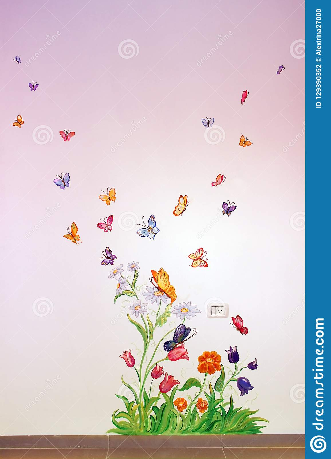 Butterflies and flowers, picture on the wall in the nursery