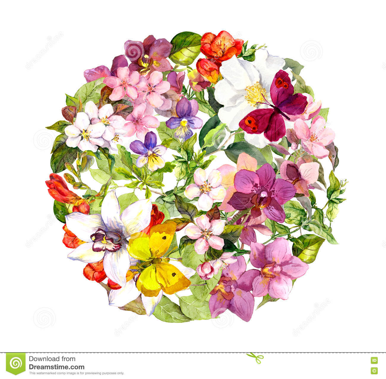 butterflies and flowers round floral pattern watercolour stock