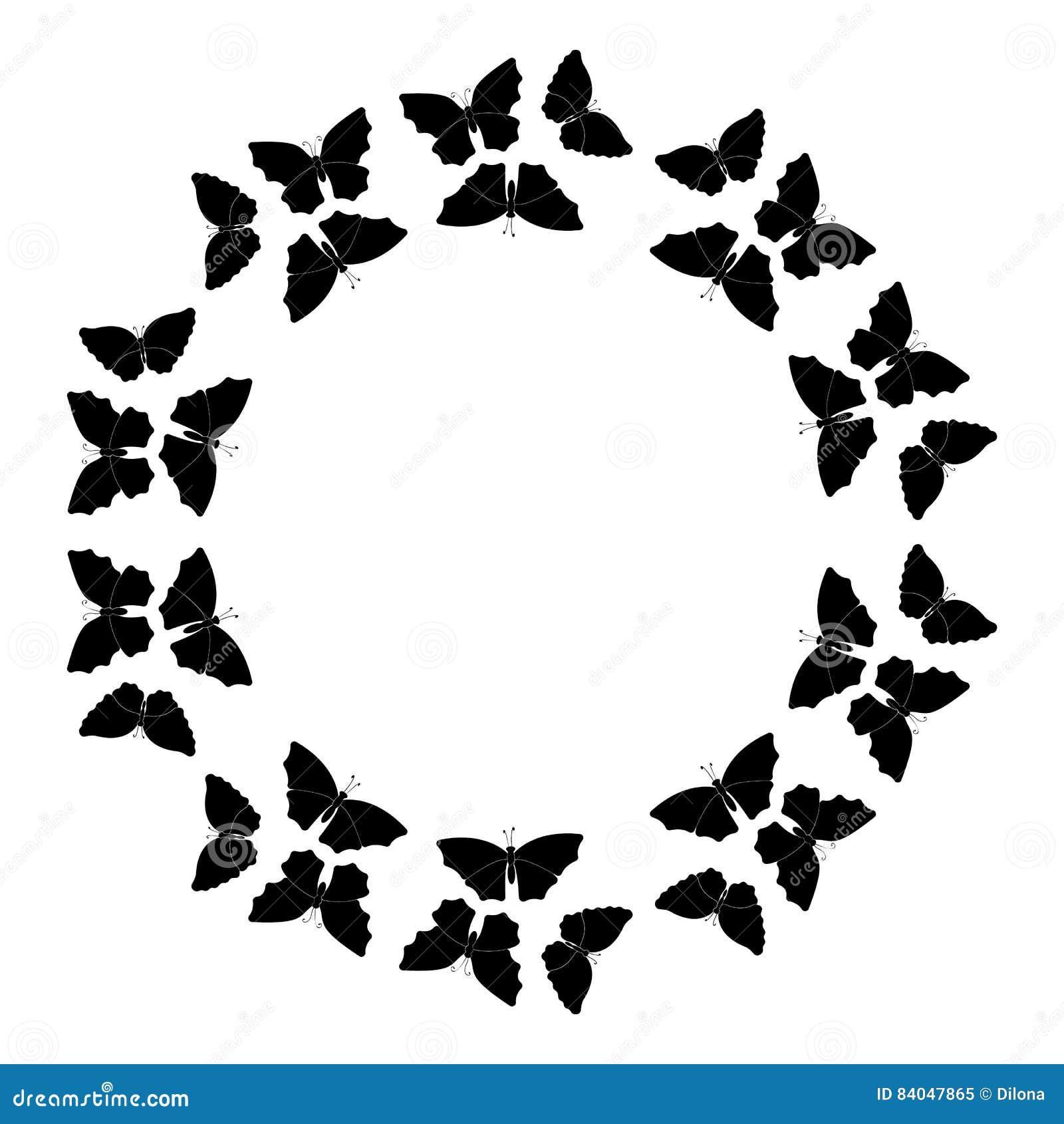Butterflies Frame Circular Pattern Border Wreath Of Black