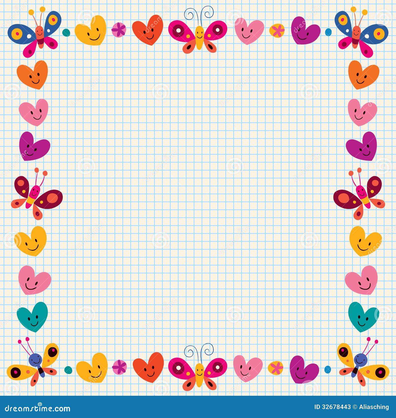 Cartoon Character Border Design : Butterflies hearts border stock vector image