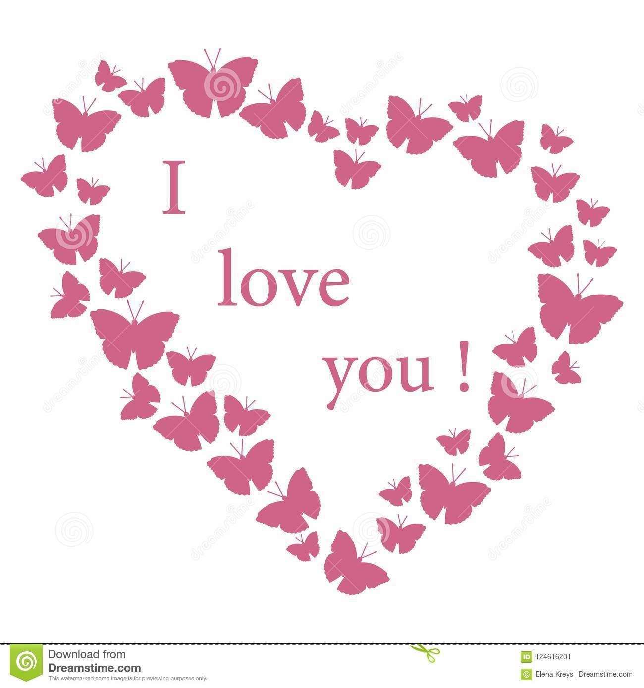 butterflies in hearts valentine s day i love you stock vector