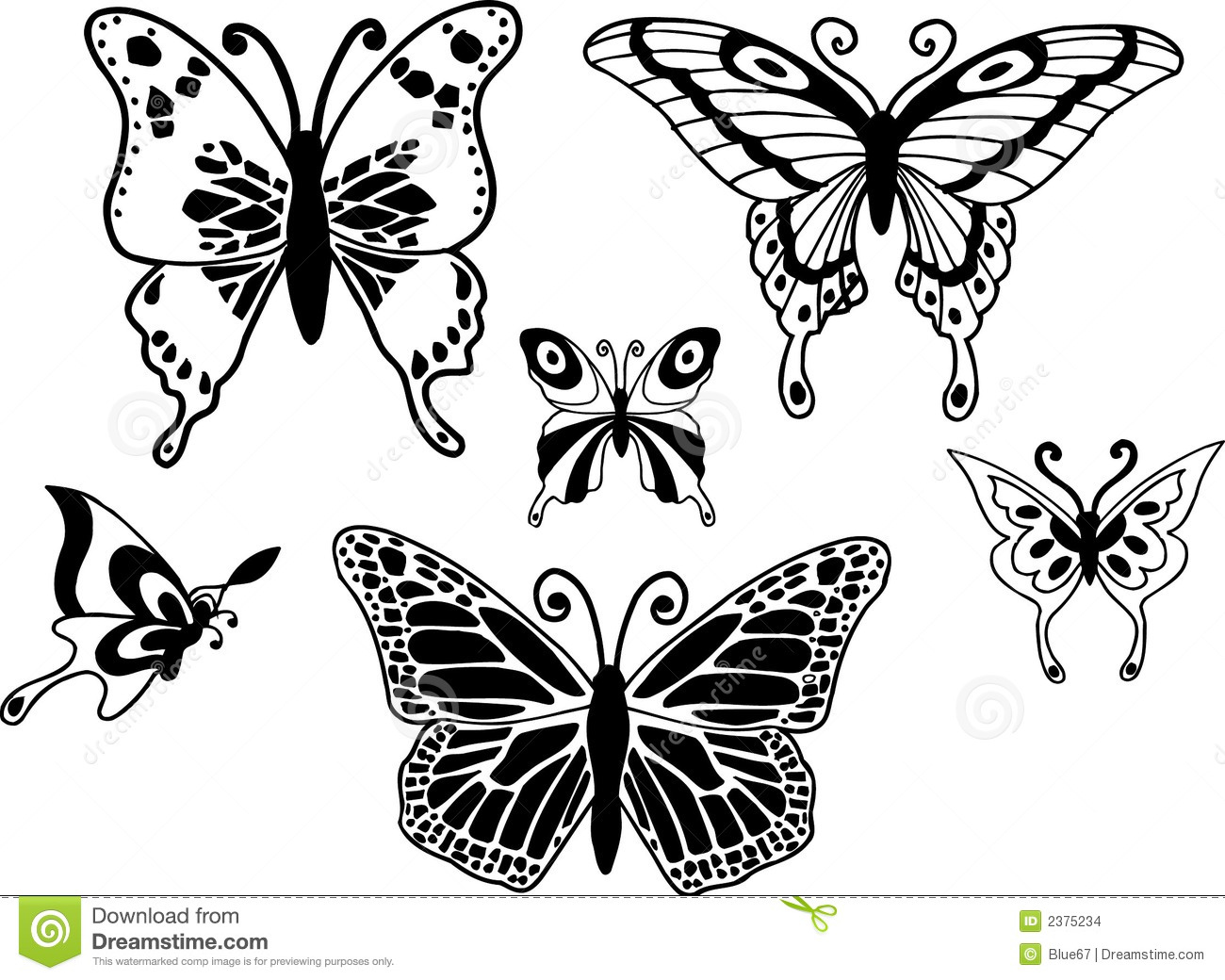 Butterfly Illustration Design Elements On White Background