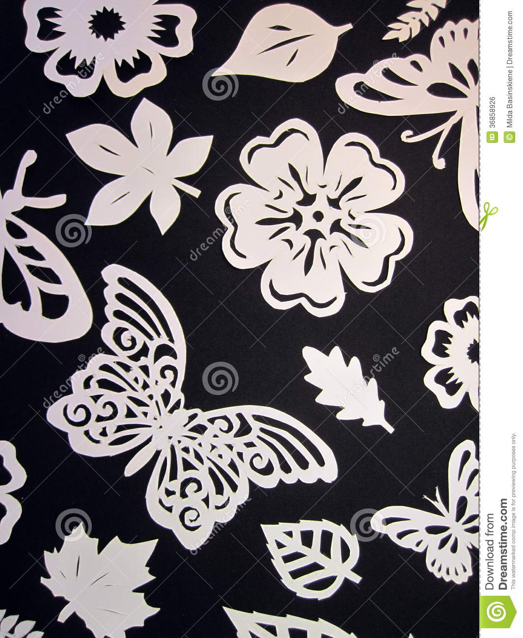 Butterflies Leaves And Flowers Pattern Paper Cutting