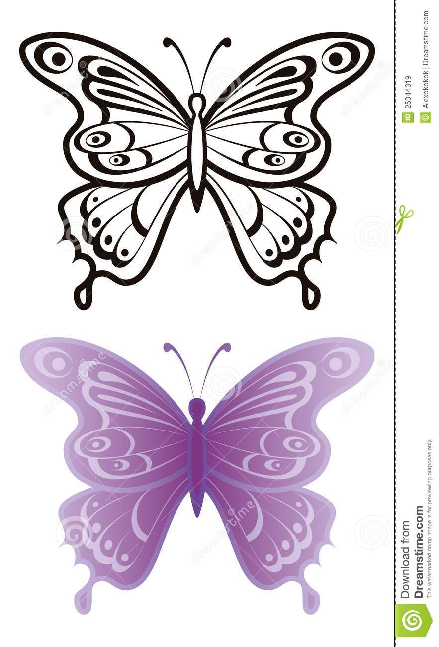 butterflies outline and lilac royalty free stock images image