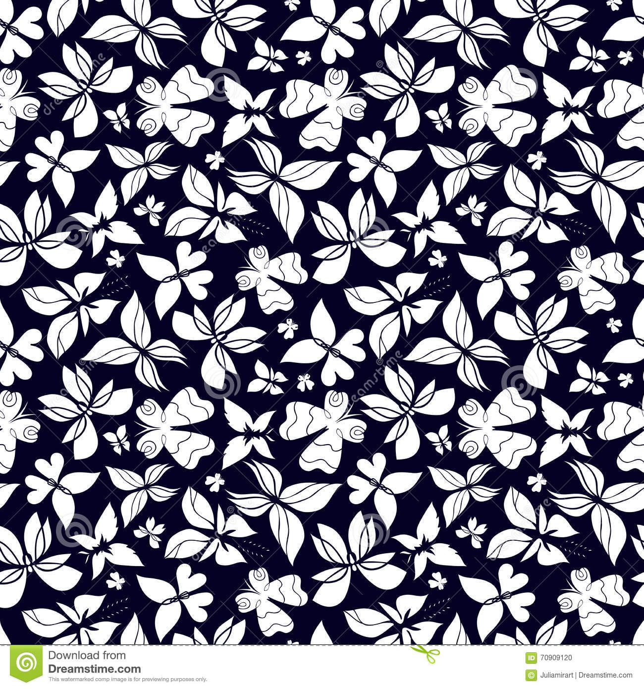 butterflies pattern black and white stock vector image 70909120
