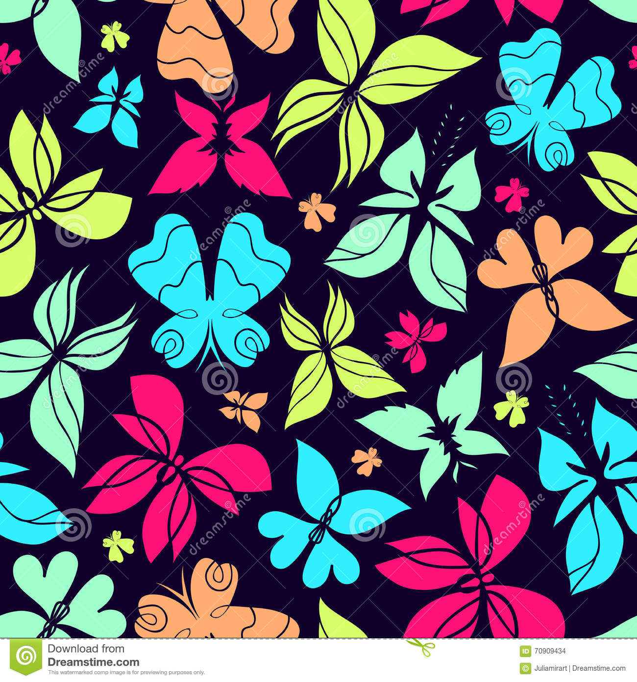 butterflies pattern color stock vector image 70909434