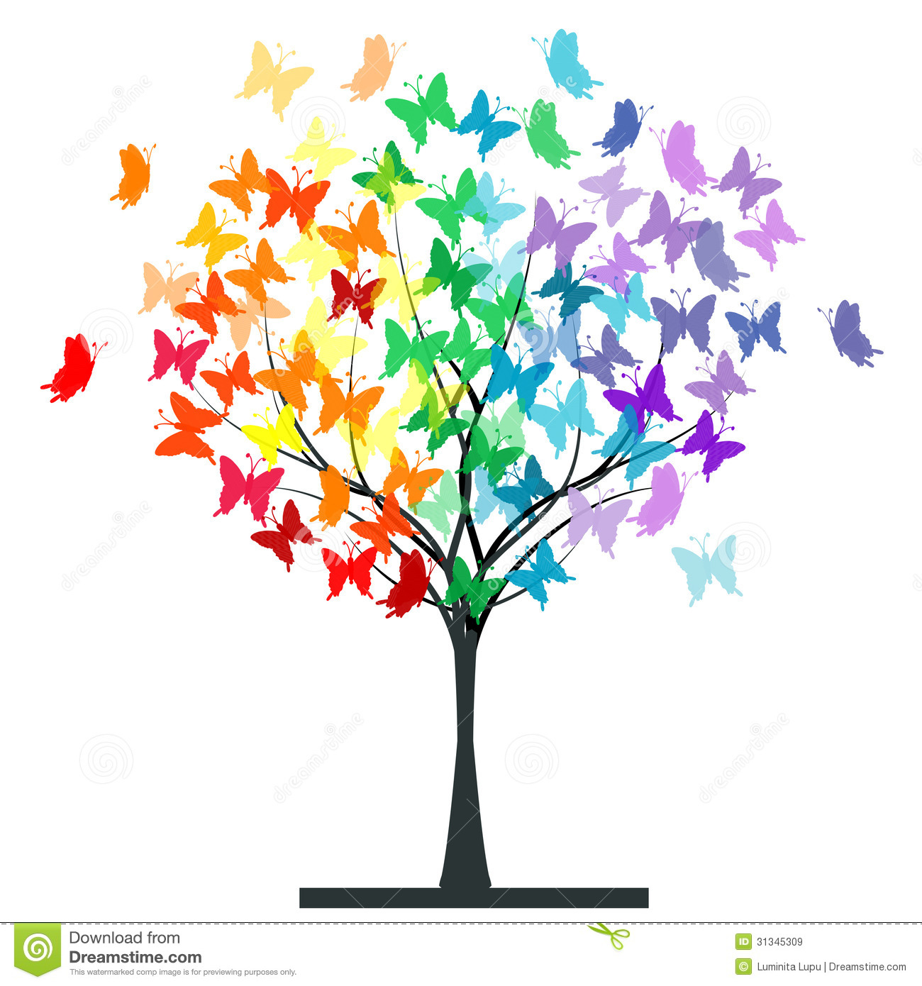 Butterflies Rainbow Tree Illustration 31345309 - Megapixl