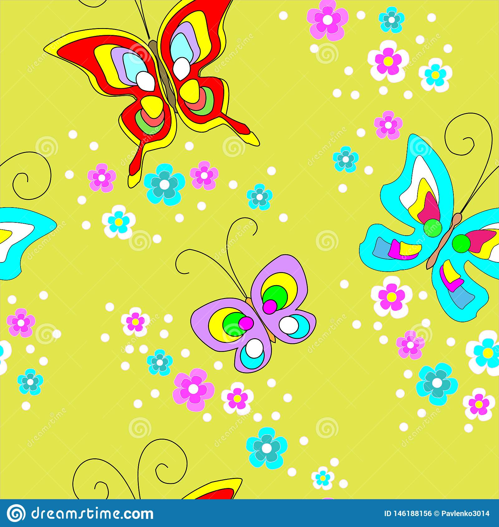 Butterflies seamless pattern. Cute design for textiles, children`s clothing, postcards. Vector illustration