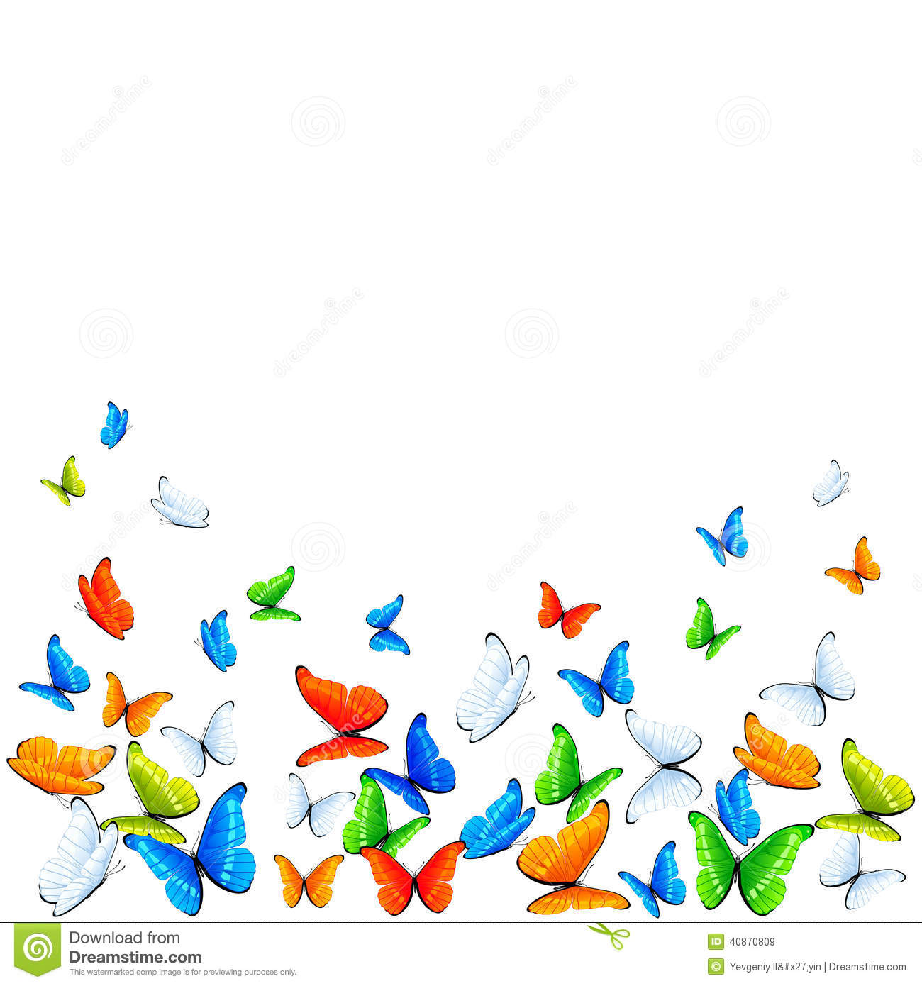 Butterflies On White Background Stock Vector - Image: 40870809