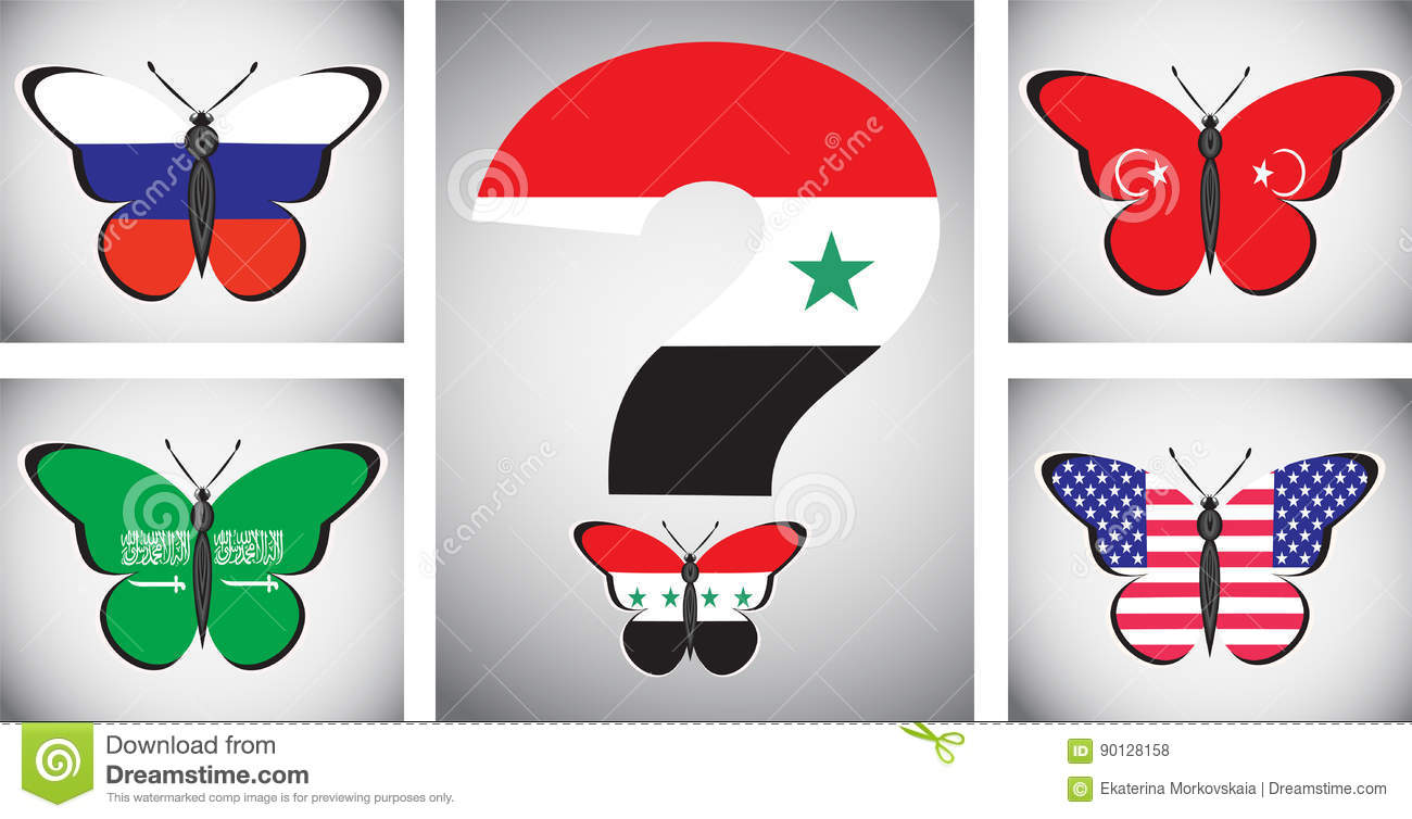 Butterflis With Flags Of Countries And The Syrian Issue
