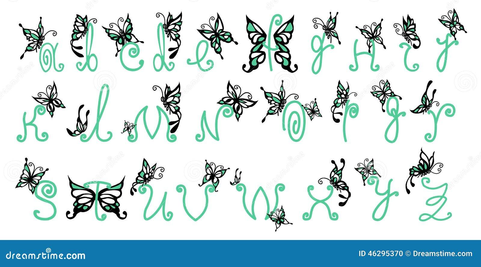 Butterfly Alphabet Stock Illustration. Illustration Of