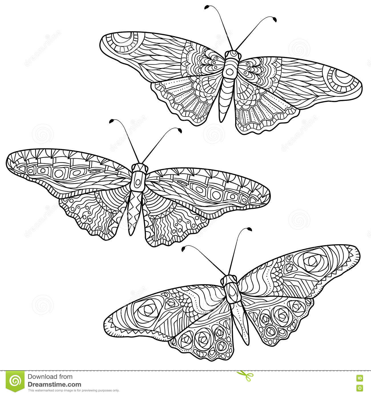 Butterfly Anti Stress Coloring Pages In Doodle Style