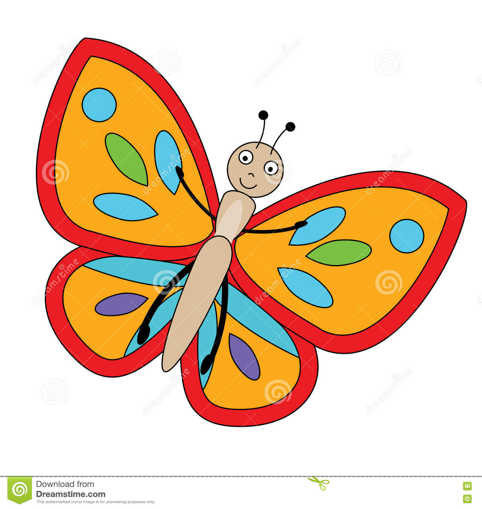 butterfly in cartoon style vector illustration stock vector