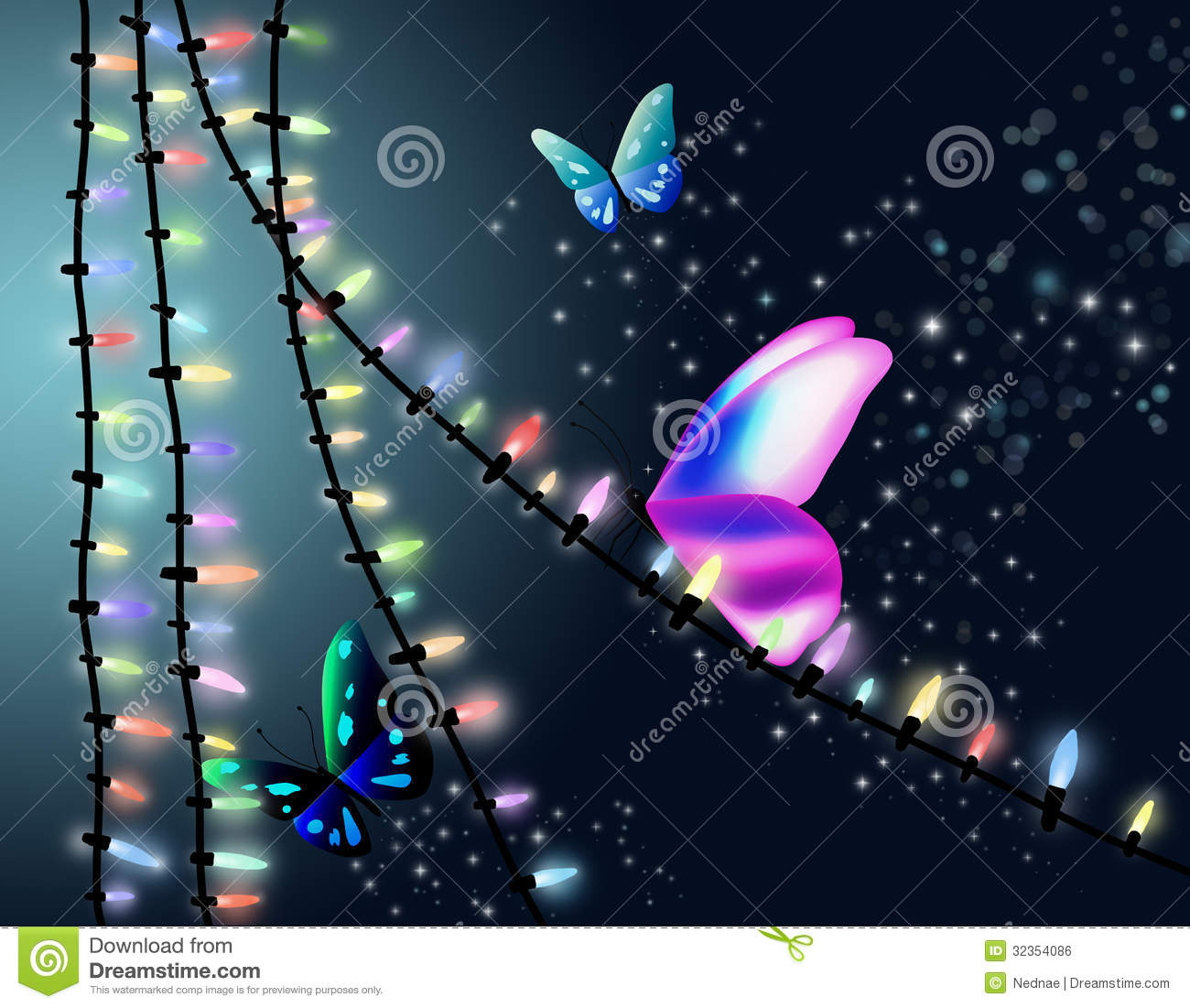 Butterfly And Christmas Lights Royalty Free Stock Image