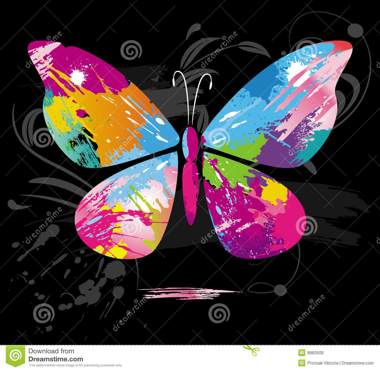 butterfly from color splashes and line brushes royalty free stock