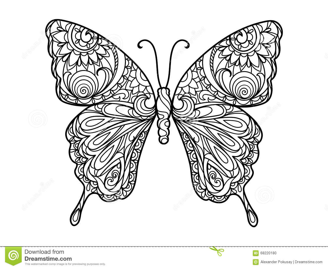 Royalty Free Vector Download Butterfly Coloring Book For Adults