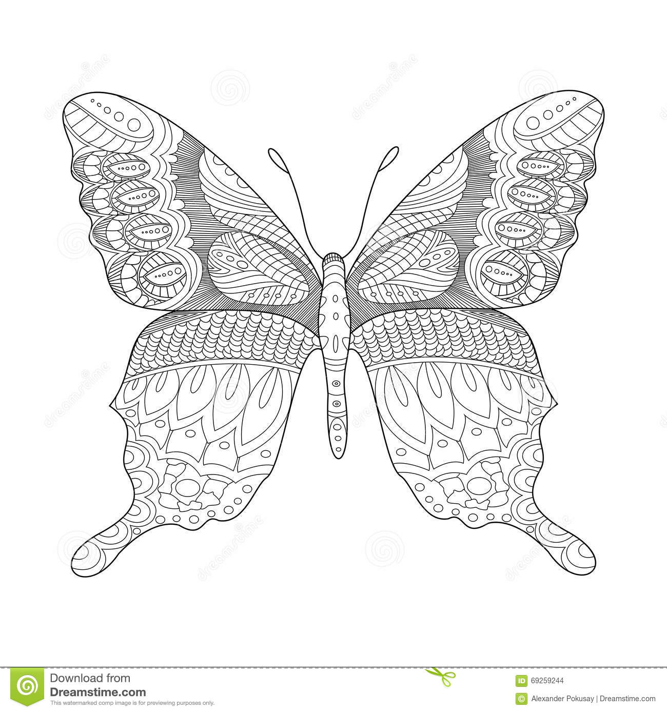 Butterfly Coloring Book For Adults Vector Stock Vector ...