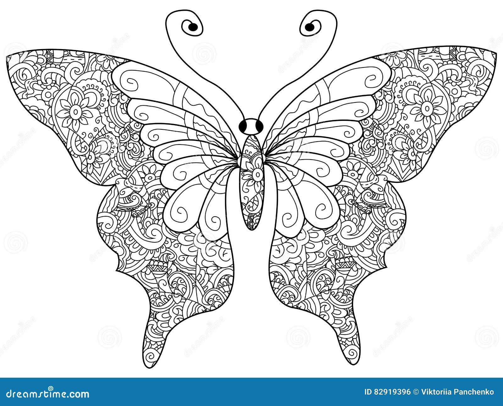 Vlinders Kleurplaat Volwassenen Butterfly Coloring Book Vector For Adults Stock Vector