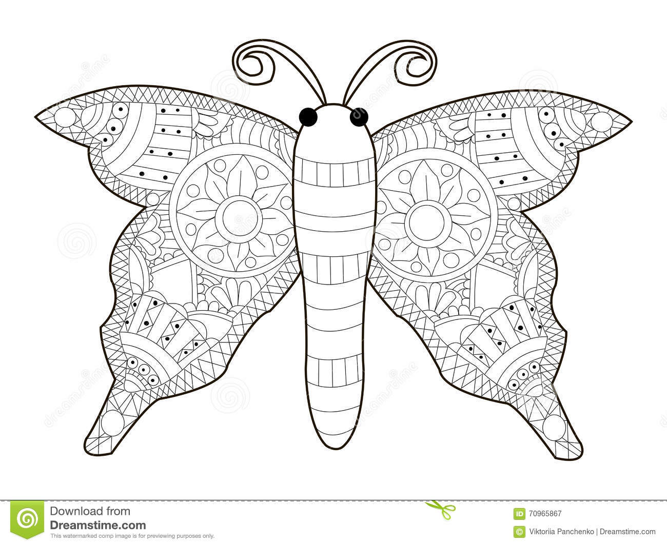 Download Butterfly Coloring Vector For Adults Stock