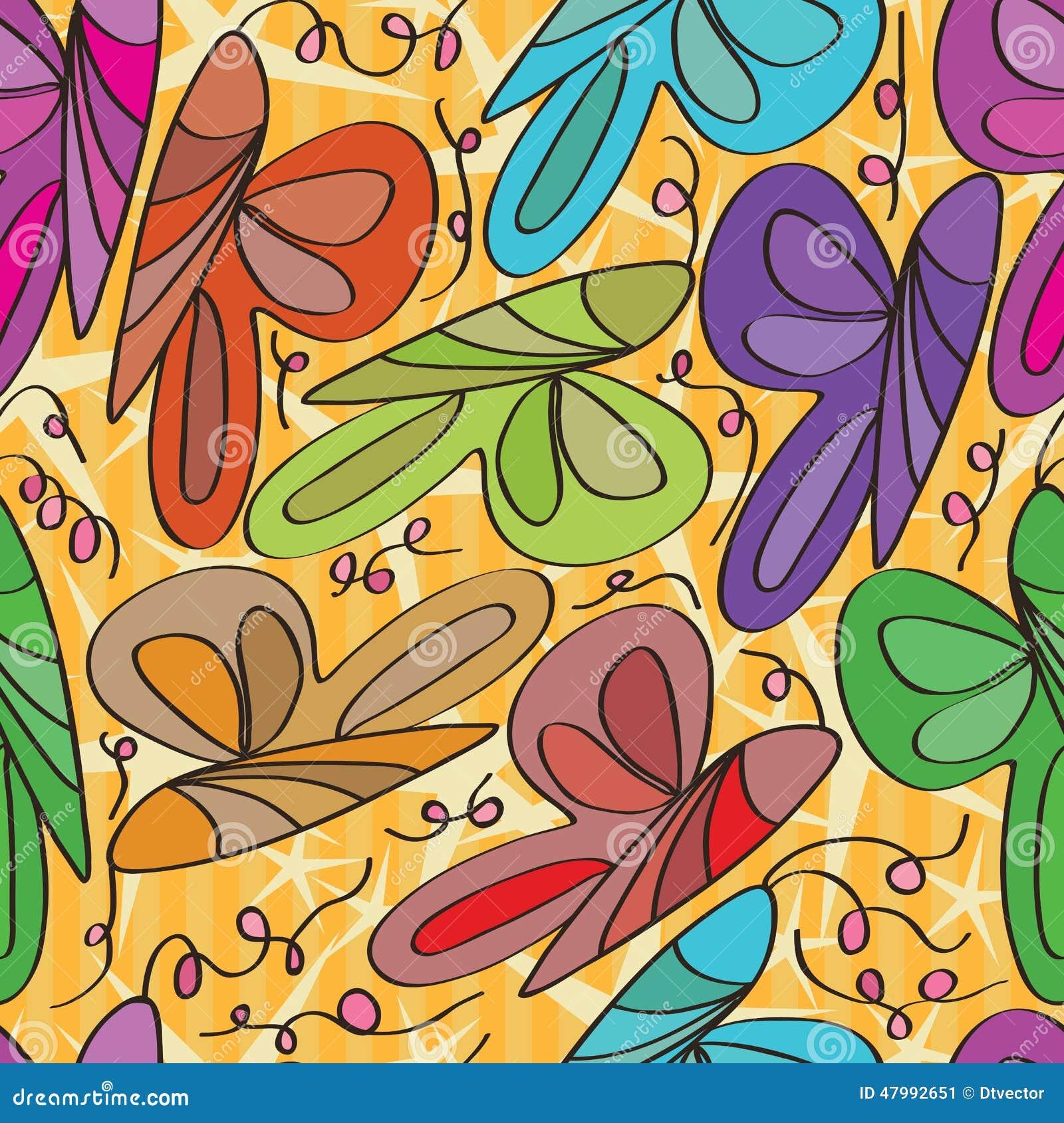Butterfly curl seamless pattern