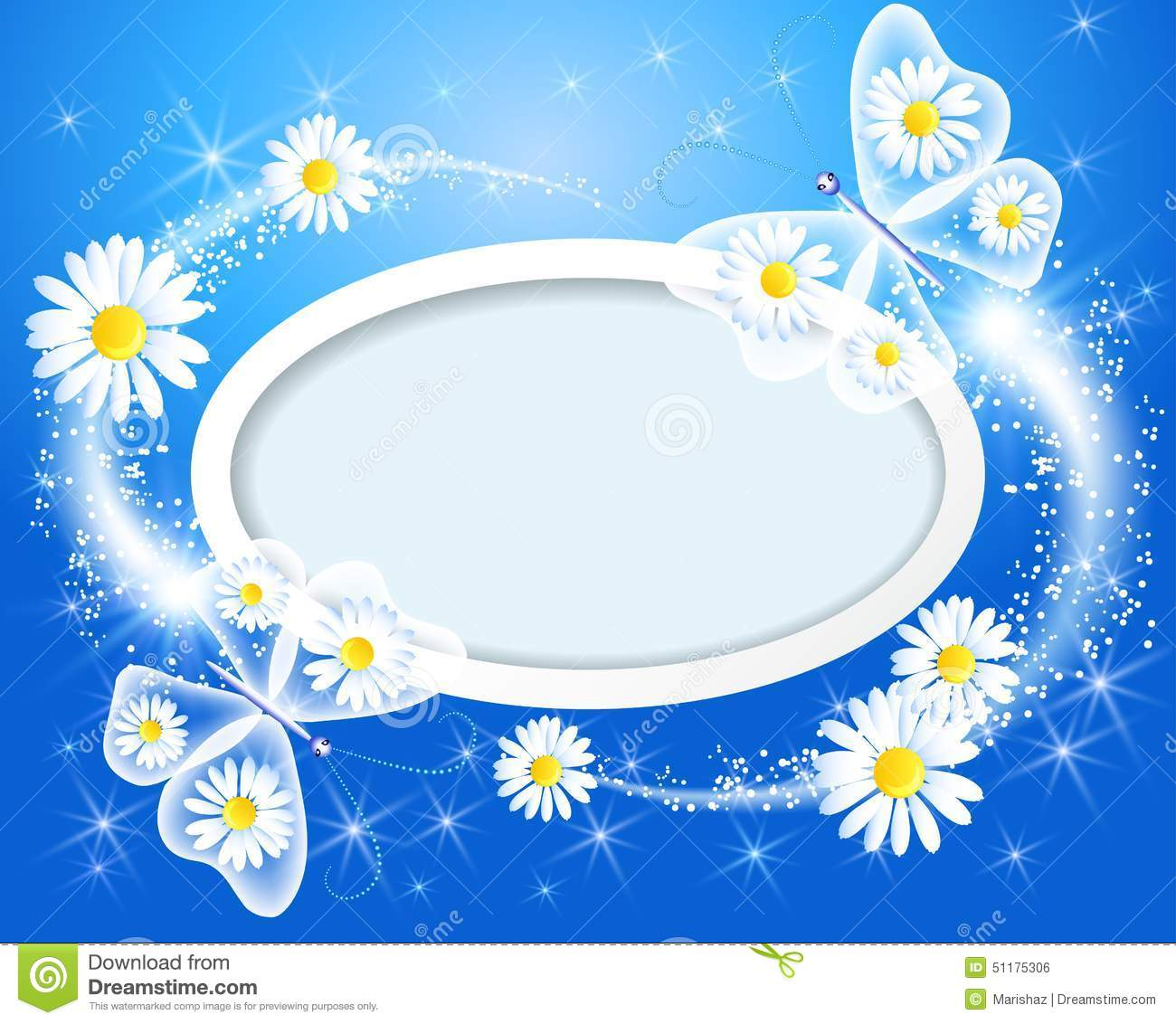 Butterfly with daisy and frame