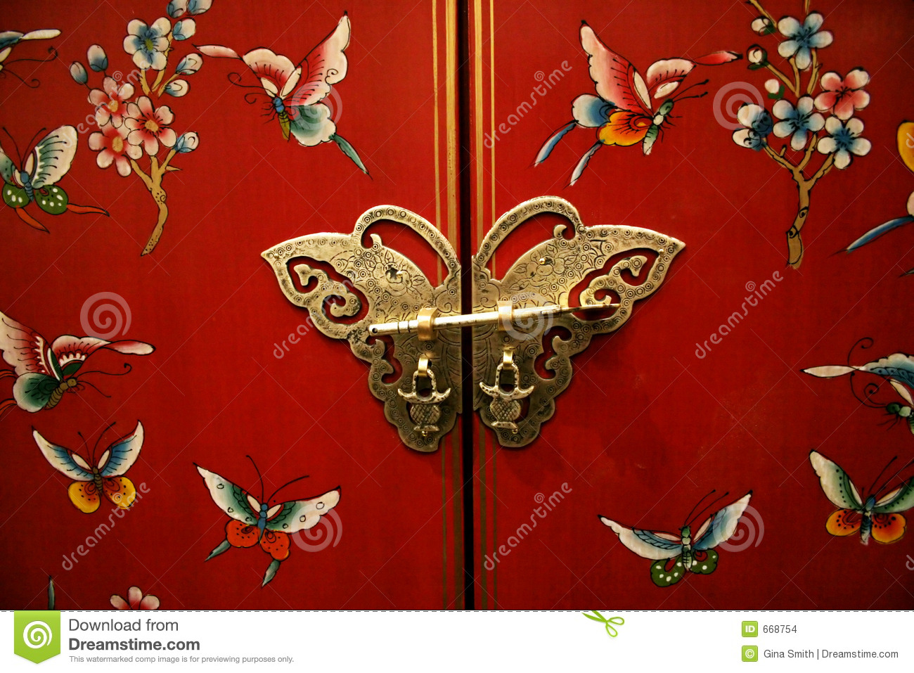 Butterfly Door On Chinese Style Furniture Stock Photo