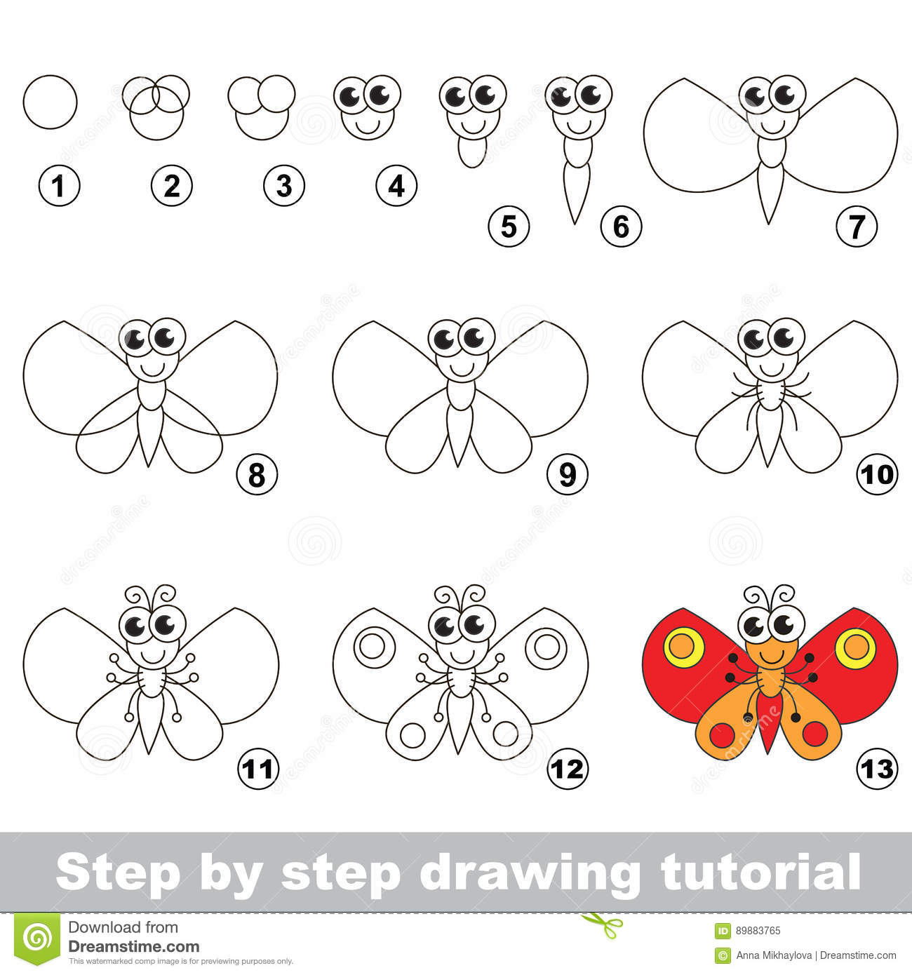 Butterfly Drawing Tutorial Stock Vector Illustration Of Paper