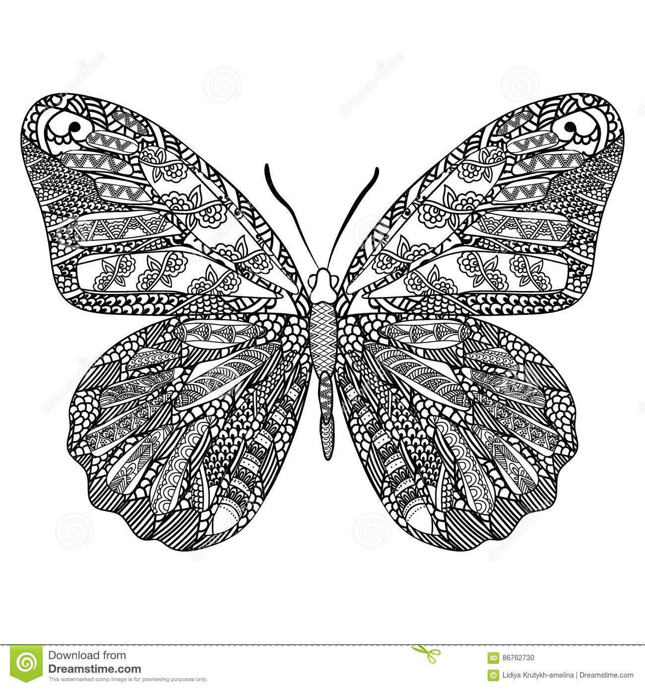 Royalty Free Vector Download Butterfly With Ethnic Doodle Pattern Zentangle Inspired For Anti Stress Coloring Book Pages