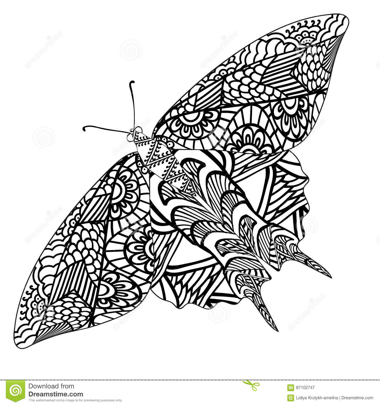 Butterfly With Ethnic Doodle Pattern  Zentangle Inspired