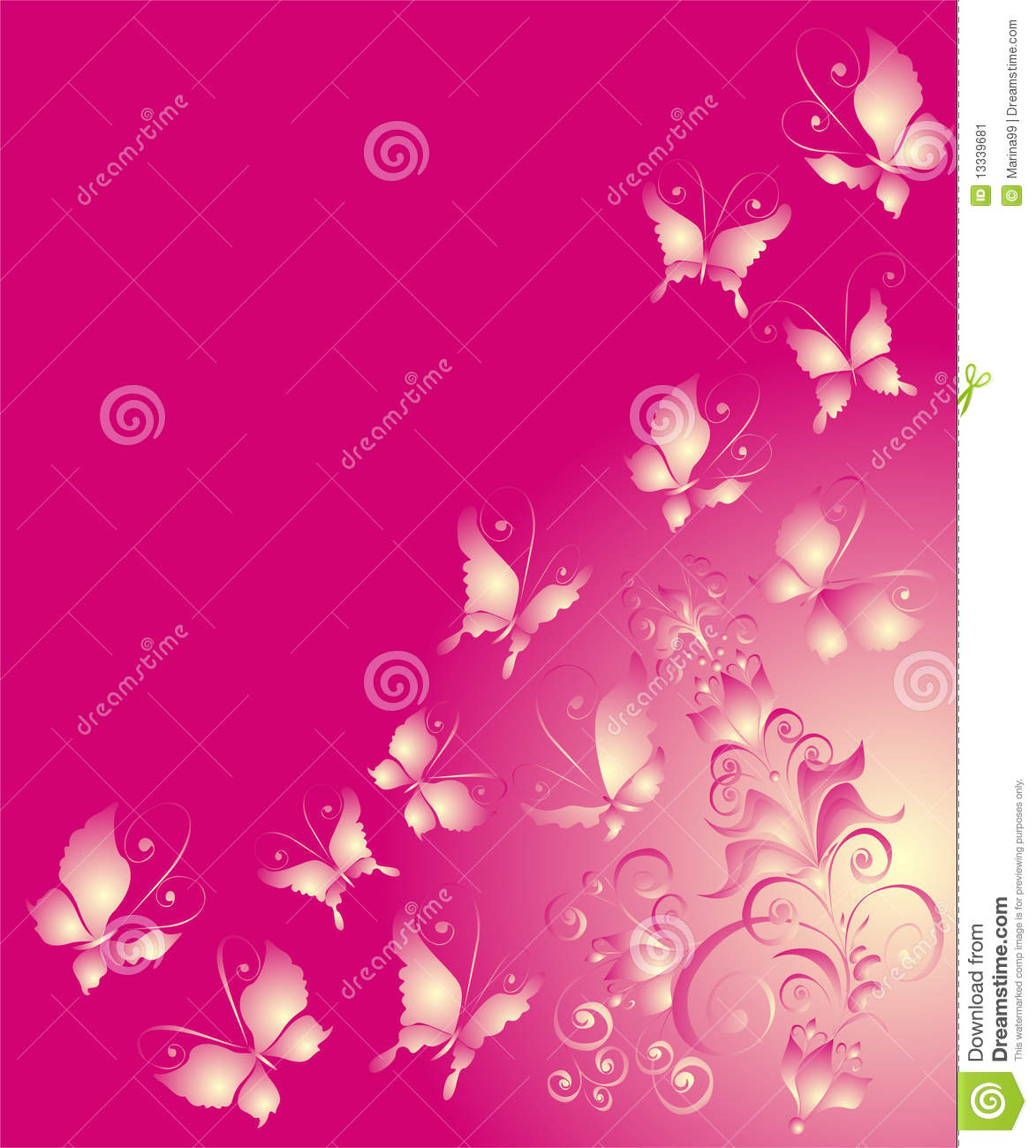 butterfly and florel ornament, vector illustration