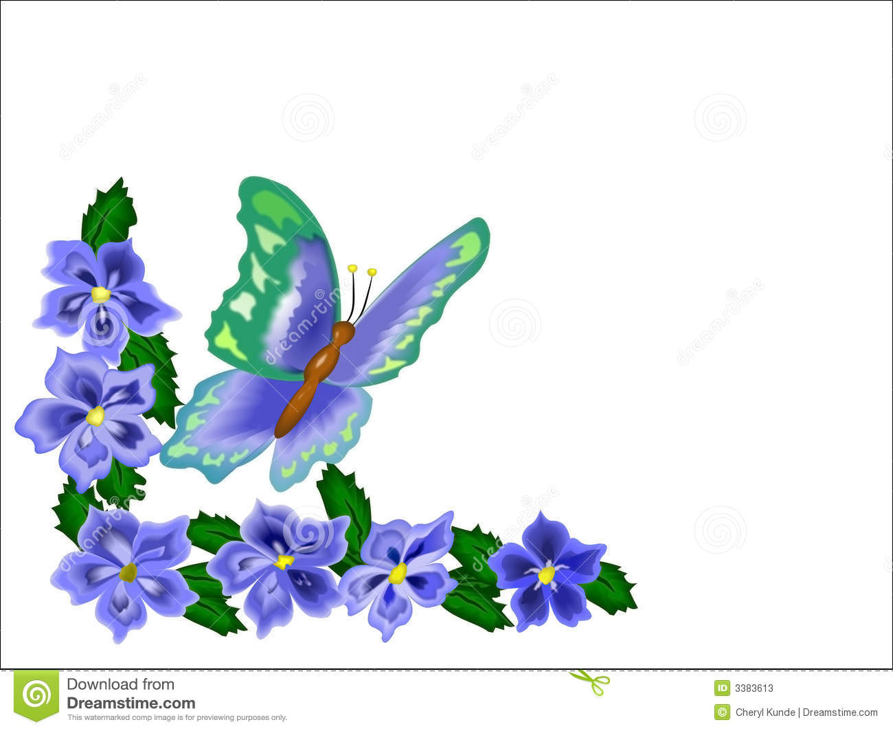 Butterfly and flowers over white as a border for note cards or edging Flower And Butterfly Border Clip Art