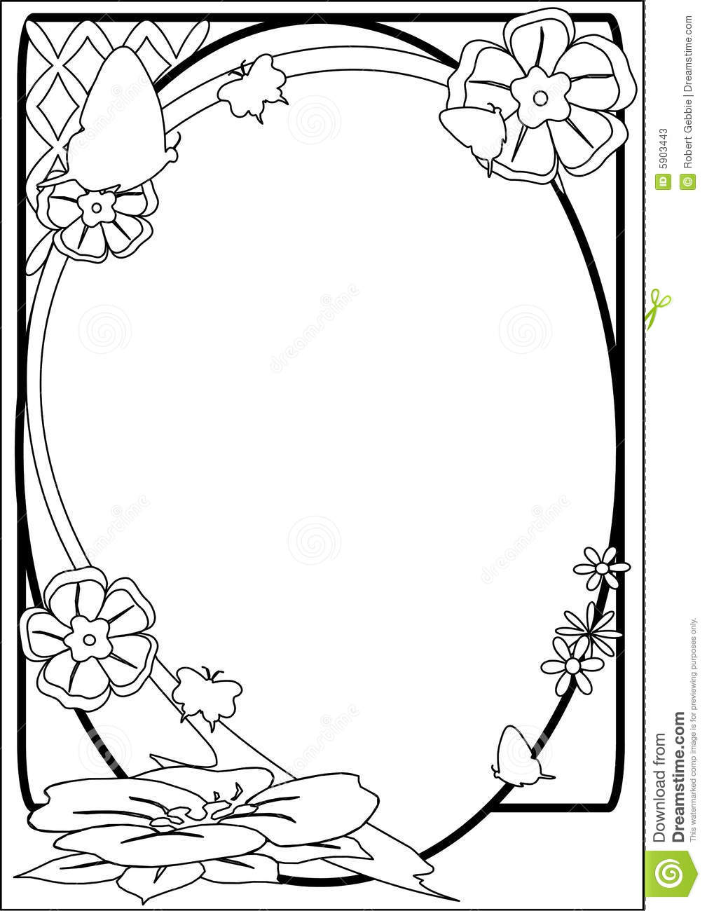 Butterfly And Flower Border Bw Stock Vector Illustration Of